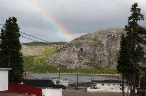 A rainbow over Nain on Tuesday evening.